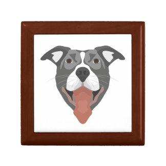 Illustration Dog Smiling Pitbull Gift Box
