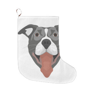 Illustration Dog Smiling Pitbull Large Christmas Stocking