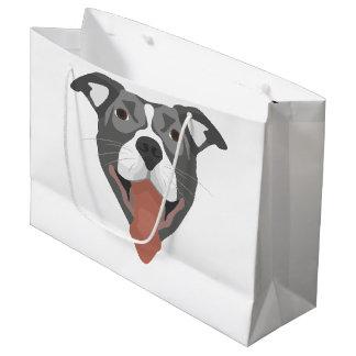 Illustration Dog Smiling Pitbull Large Gift Bag