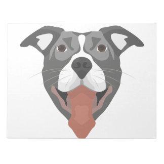 Illustration Dog Smiling Pitbull Notepad