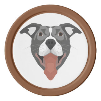 Illustration Dog Smiling Pitbull Poker Chips