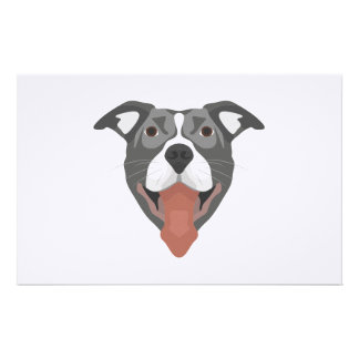 Illustration Dog Smiling Pitbull Stationery