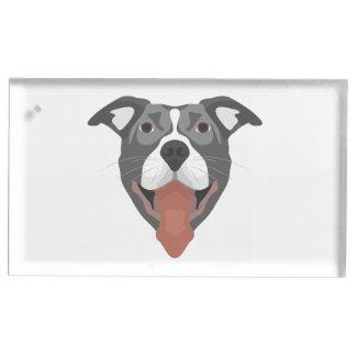Illustration Dog Smiling Pitbull Table Card Holder