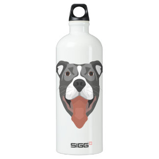 Illustration Dog Smiling Pitbull Water Bottle
