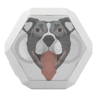Illustration Dog Smiling Pitbull White Bluetooth Speaker