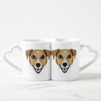 Illustration Dog Smiling Terrier Coffee Mug Set