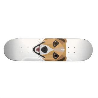 Illustration Dog Smiling Terrier Skateboard Deck