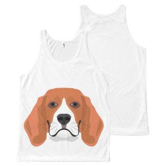 Illustration dogs face Beagle All-Over Print Singlet