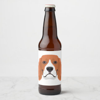 Illustration dogs face Beagle Beer Bottle Label