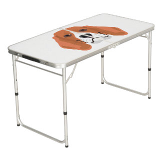 Illustration dogs face Beagle Beer Pong Table