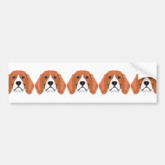 Illustration dogs face Beagle Bumper Sticker