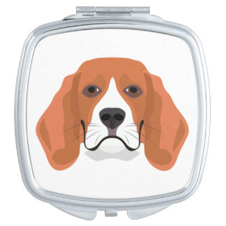 Illustration dogs face Beagle Compact Mirrors