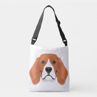 Illustration dogs face Beagle Crossbody Bag