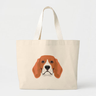 Illustration dogs face Beagle Large Tote Bag