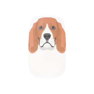 Illustration dogs face Beagle Minx Nail Art