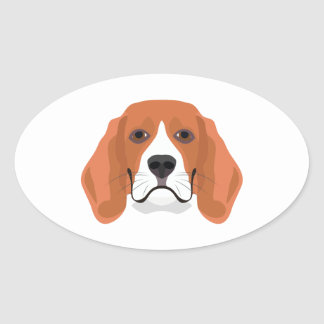 Illustration dogs face Beagle Oval Sticker