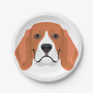 Illustration dogs face Beagle Paper Plate