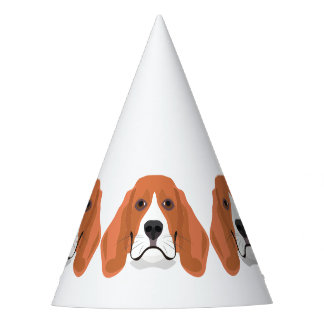 Illustration dogs face Beagle Party Hat