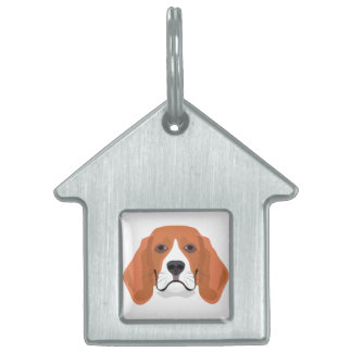 Illustration dogs face Beagle Pet Name Tag