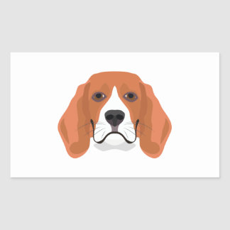 Illustration dogs face Beagle Rectangular Sticker