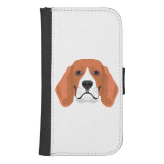 Illustration dogs face Beagle Samsung S4 Wallet Case