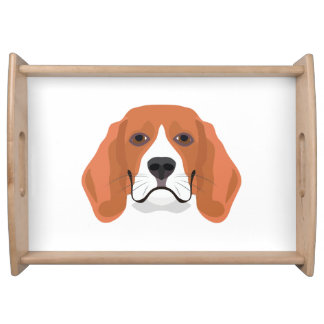 Illustration dogs face Beagle Serving Tray