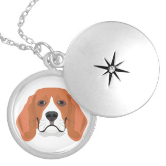 Illustration dogs face Beagle Silver Plated Necklace