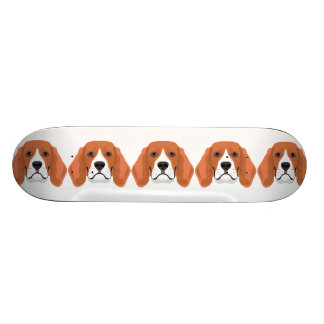 Illustration dogs face Beagle Skateboard