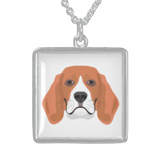 Illustration dogs face Beagle Sterling Silver Necklace