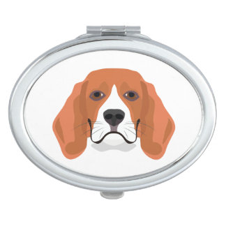Illustration dogs face Beagle Travel Mirror