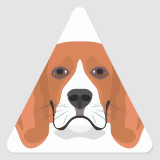 Illustration dogs face Beagle Triangle Sticker