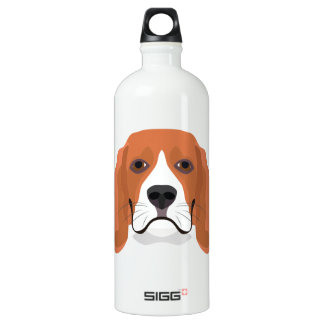 Illustration dogs face Beagle Water Bottle
