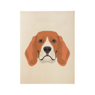 Illustration dogs face Beagle Wood Poster