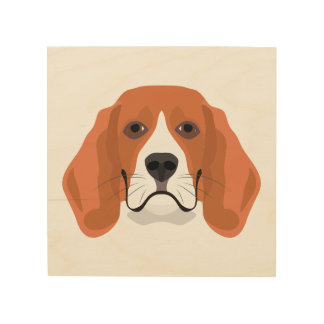 Illustration dogs face Beagle Wood Print