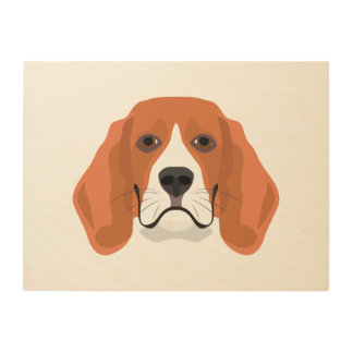 Illustration dogs face Beagle Wood Wall Art
