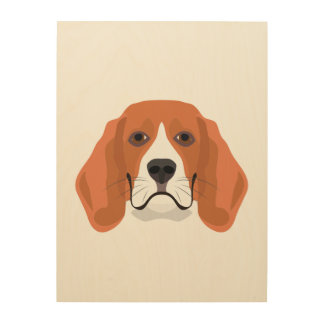 Illustration dogs face Beagle Wood Wall Decor