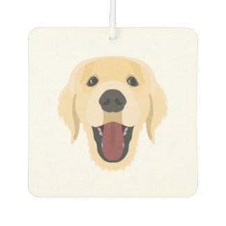 Illustration dogs face Golden Retriver Car Air Freshener