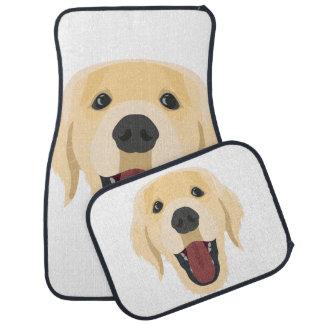 Illustration dogs face Golden Retriver Car Mat