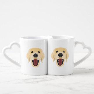 Illustration dogs face Golden Retriver Coffee Mug Set