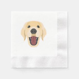 Illustration dogs face Golden Retriver Disposable Serviette