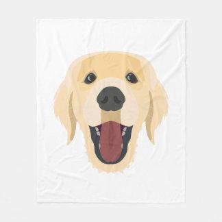 Illustration dogs face Golden Retriver Fleece Blanket