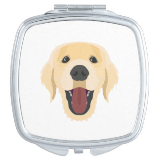 Illustration dogs face Golden Retriver Mirror For Makeup