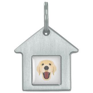 Illustration dogs face Golden Retriver Pet Name Tag
