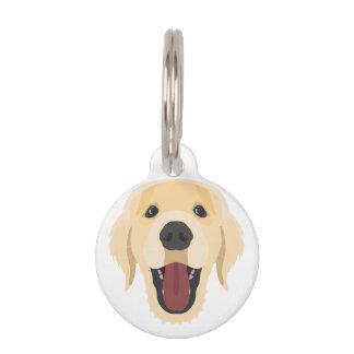 Illustration dogs face Golden Retriver Pet Tag