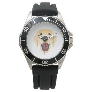Illustration dogs face Golden Retriver Watch