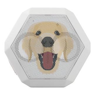 Illustration dogs face Golden Retriver White Bluetooth Speaker