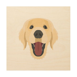 Illustration dogs face Golden Retriver Wood Wall Art
