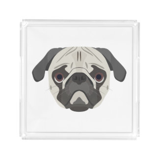 Illustration dogs face Pug Acrylic Tray