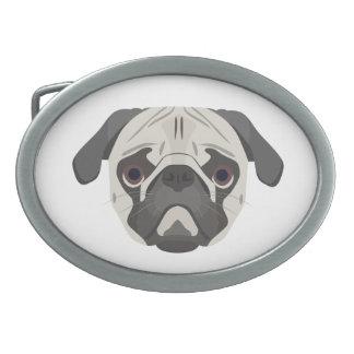 Illustration dogs face Pug Belt Buckles