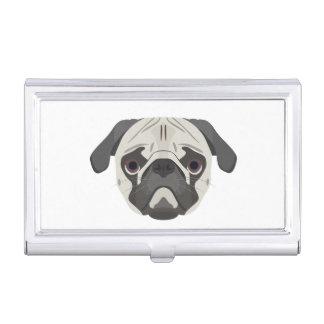 Illustration dogs face Pug Business Card Holder